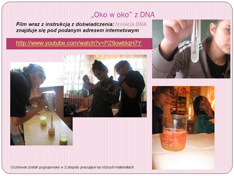 Oko w oko z DNA Film wraz z instrukcją z doświadczenia: Izolacja DNA znajduje się pod podanym adresem internetowym http://www.youtube.com/watch?v=PZ9o