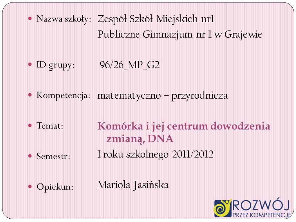 Nazwa szkoły: ID grupy: Kompetencja: Temat: Semestr: Opiekun: Zespół Szkół Miejskich nr1 Publiczne Gimnazjum nr 1 w Grajewie 96/26_MP_G2 matematyczno