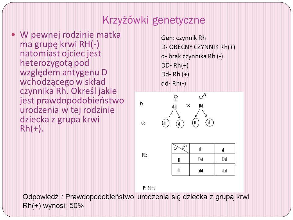 Krzyżówki genetyczne W pewnej rodzinie matka ma grupę krwi RH(-) natomiast ojciec jest heterozygotą pod względem antygenu D wchodzącego w skład czynni
