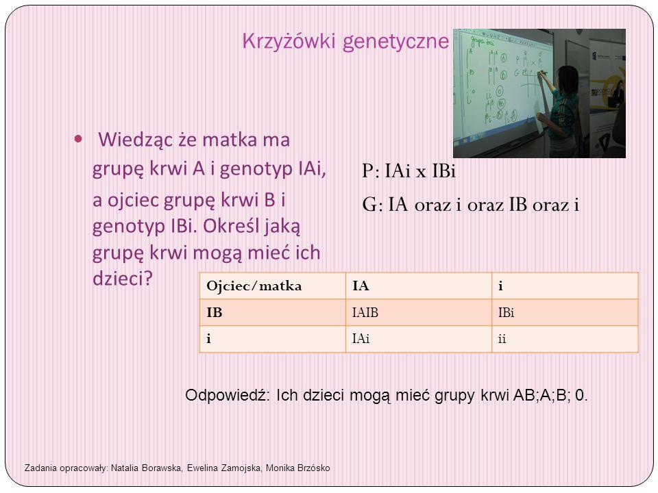 Krzyżówki genetyczne Wiedząc że matka ma grupę krwi A i genotyp IAi, a ojciec grupę krwi B i genotyp IBi. Określ jaką grupę krwi mogą mieć ich dzieci?