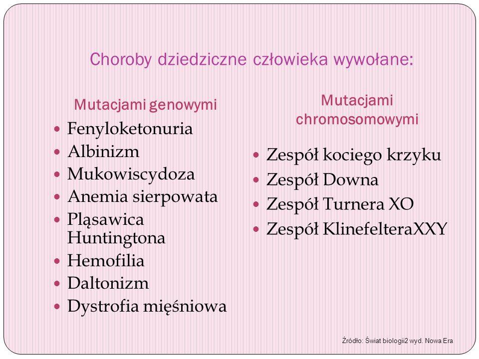 Choroby dziedziczne człowieka wywołane: Mutacjami genowymi Mutacjami chromosomowymi Fenyloketonuria Albinizm Mukowiscydoza Anemia sierpowata Pląsawica