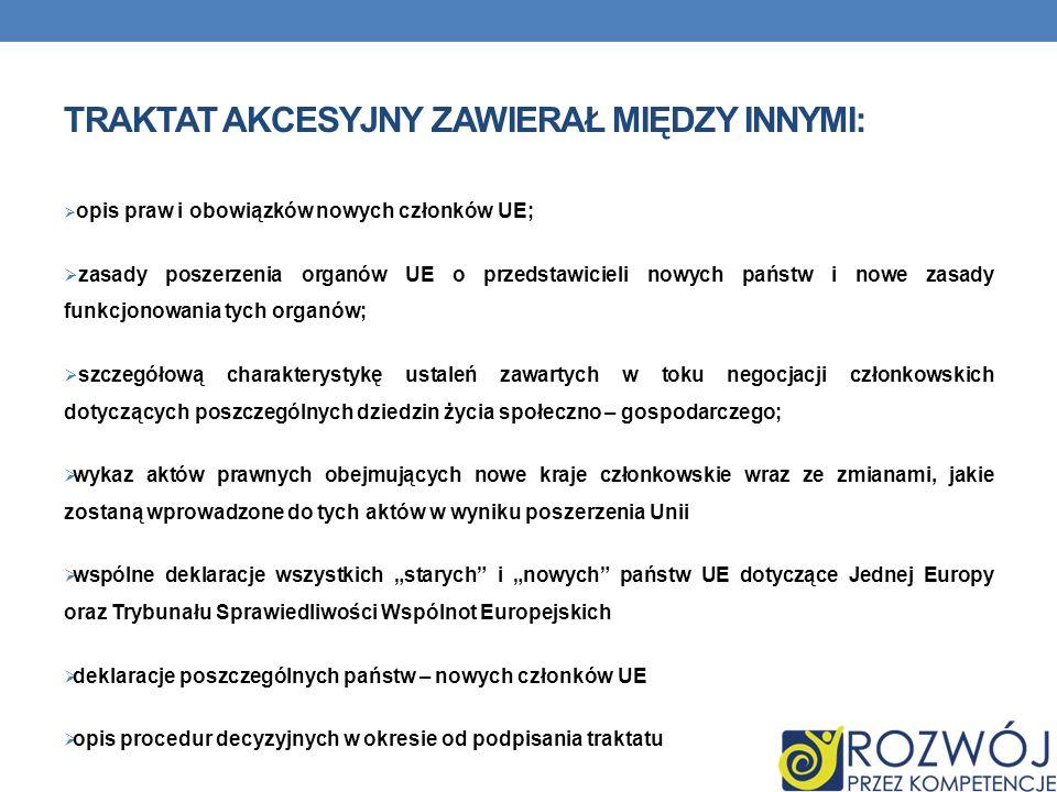 Traktat Akcesyjny podpisany 16 kwietnia 2003r. w Atenach określał warunki przystąpienia Polski (i pozostałych krajów) do UE. Jest umową międzynarodową