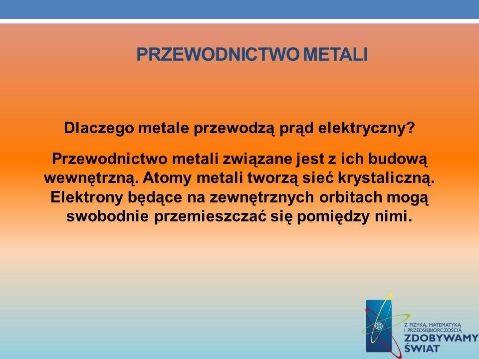 PRZEWODNICTWO METALI Dlaczego metale przewodzą prąd elektryczny? Przewodnictwo metali związane jest z ich budową wewnętrzną. Atomy metali tworzą sieć