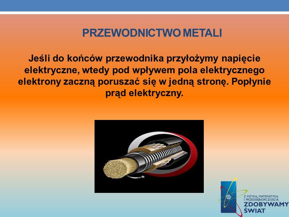 PRZEWODNICTWO METALI Jeśli do końców przewodnika przyłożymy napięcie elektryczne, wtedy pod wpływem pola elektrycznego elektrony zaczną poruszać się w