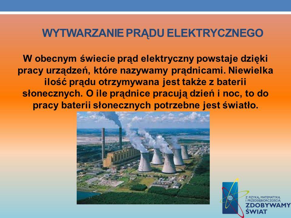 WYTWARZANIE PRĄDU ELEKTRYCZNEGO W obecnym świecie prąd elektryczny powstaje dzięki pracy urządzeń, które nazywamy prądnicami. Niewielka ilość prądu ot