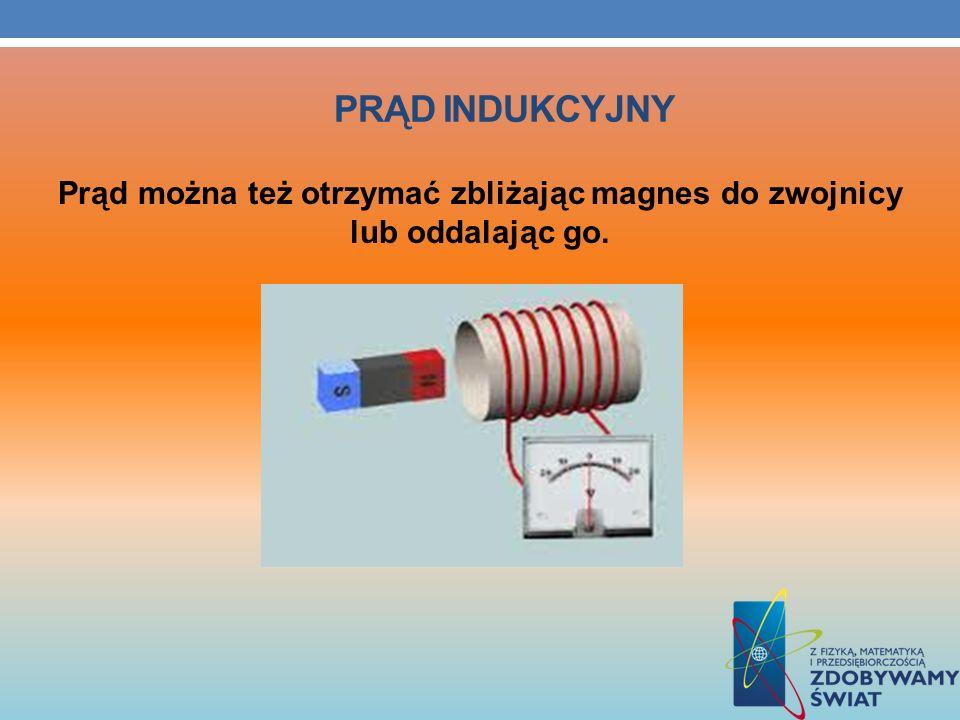 PRĄD INDUKCYJNY Prąd można też otrzymać zbliżając magnes do zwojnicy lub oddalając go.