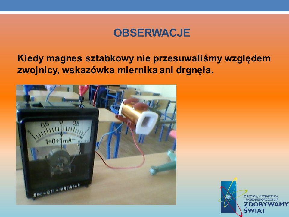 OBSERWACJE Kiedy magnes sztabkowy nie przesuwaliśmy względem zwojnicy, wskazówka miernika ani drgnęła.