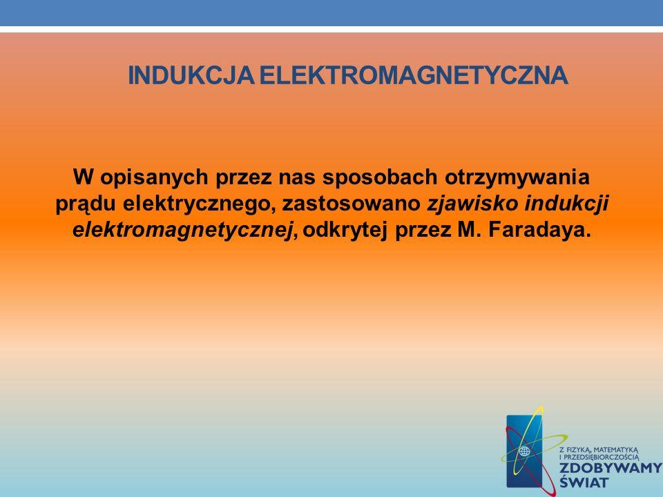 INDUKCJA ELEKTROMAGNETYCZNA W opisanych przez nas sposobach otrzymywania prądu elektrycznego, zastosowano zjawisko indukcji elektromagnetycznej, odkry