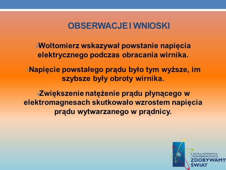 OBSERWACJE I WNIOSKI Woltomierz wskazywał powstanie napięcia elektrycznego podczas obracania wirnika. Napięcie powstałego prądu było tym wyższe, im sz