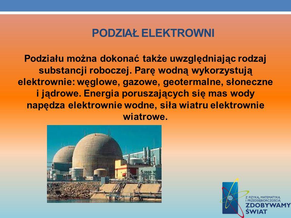PODZIAŁ ELEKTROWNI Podziału można dokonać także uwzględniając rodzaj substancji roboczej. Parę wodną wykorzystują elektrownie: węglowe, gazowe, geoter