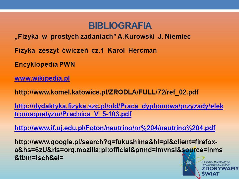 BIBLIOGRAFIA Fizyka w prostych zadaniach A.Kurowski J. Niemiec Fizyka zeszyt ćwiczeń cz.1 Karol Hercman Encyklopedia PWN www.wikipedia.pl http://www.k
