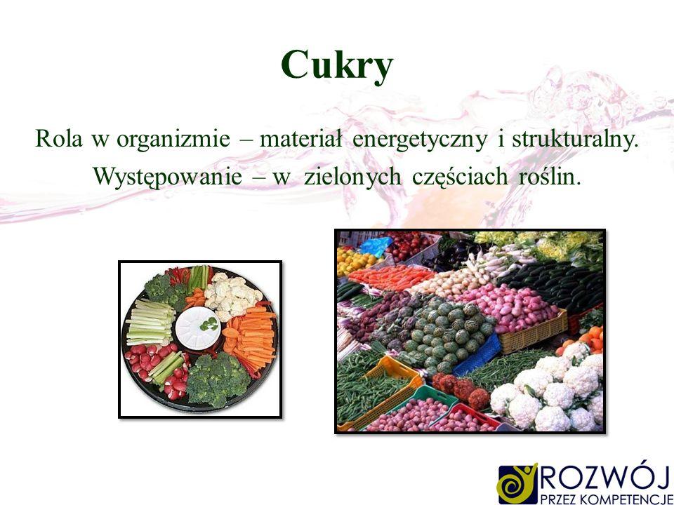 Cukry Rola w organizmie – materiał energetyczny i strukturalny. Występowanie – w zielonych częściach roślin.
