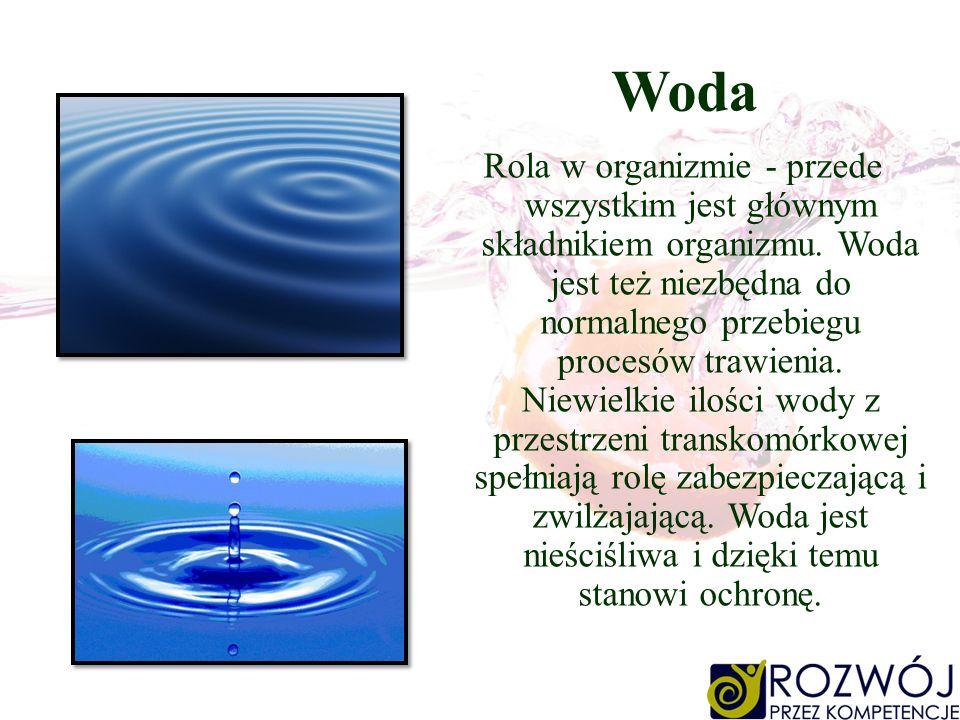 Woda Rola w organizmie - przede wszystkim jest głównym składnikiem organizmu. Woda jest też niezbędna do normalnego przebiegu procesów trawienia. Niew