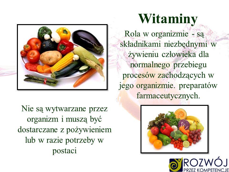 Witaminy Rola w organizmie - są składnikami niezbędnymi w żywieniu człowieka dla normalnego przebiegu procesów zachodzących w jego organizmie. prepara