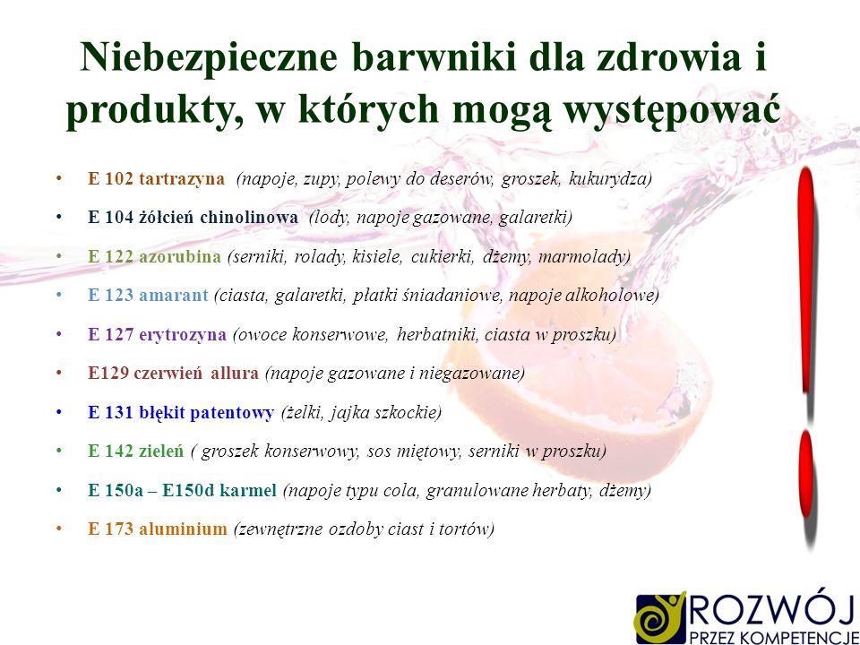 Niebezpieczne barwniki dla zdrowia i produkty, w których mogą występować E 102 tartrazyna (napoje, zupy, polewy do deserów, groszek, kukurydza) E 104