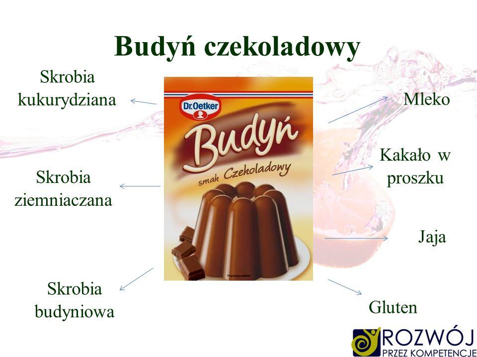 Budyń czekoladowy Mleko Gluten Jaja Skrobia kukurydziana Skrobia ziemniaczana Kakało w proszku Skrobia budyniowa
