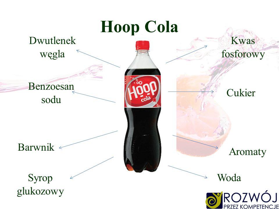 Hoop Cola Kwas fosforowy Cukier Aromaty Dwutlenek węgla Benzoesan sodu Woda Barwnik Syrop glukozowy