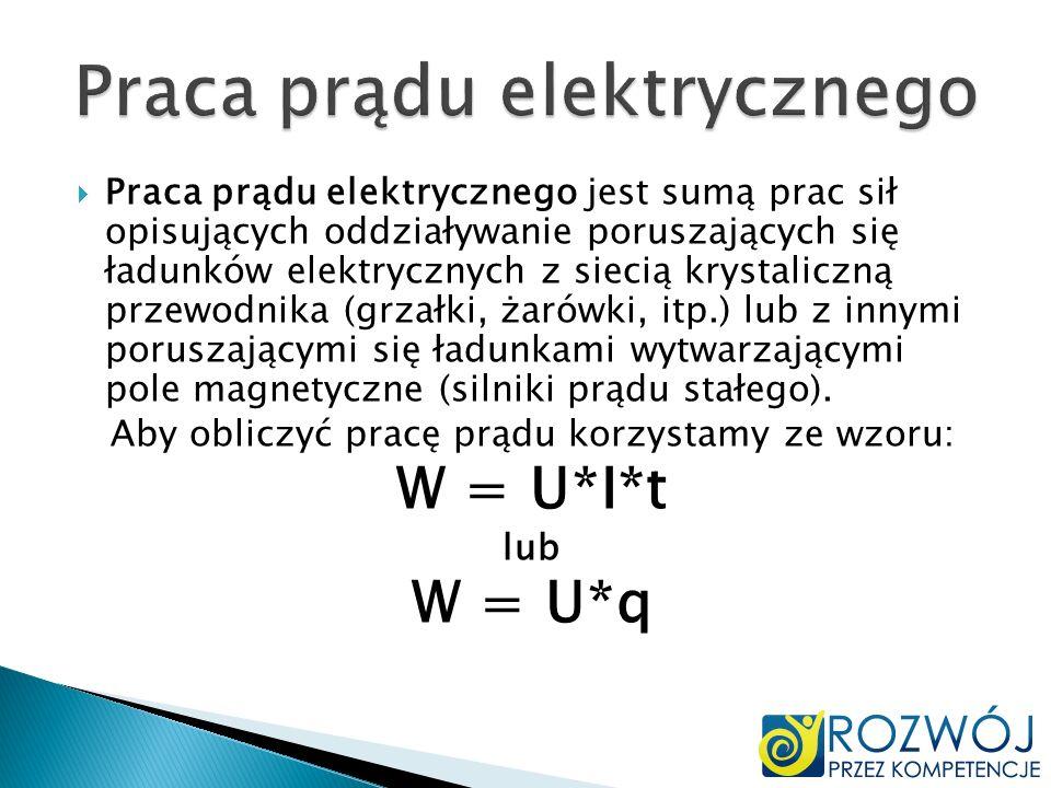 Praca prądu elektrycznego jest sumą prac sił opisujących oddziaływanie poruszających się ładunków elektrycznych z siecią krystaliczną przewodnika (grz