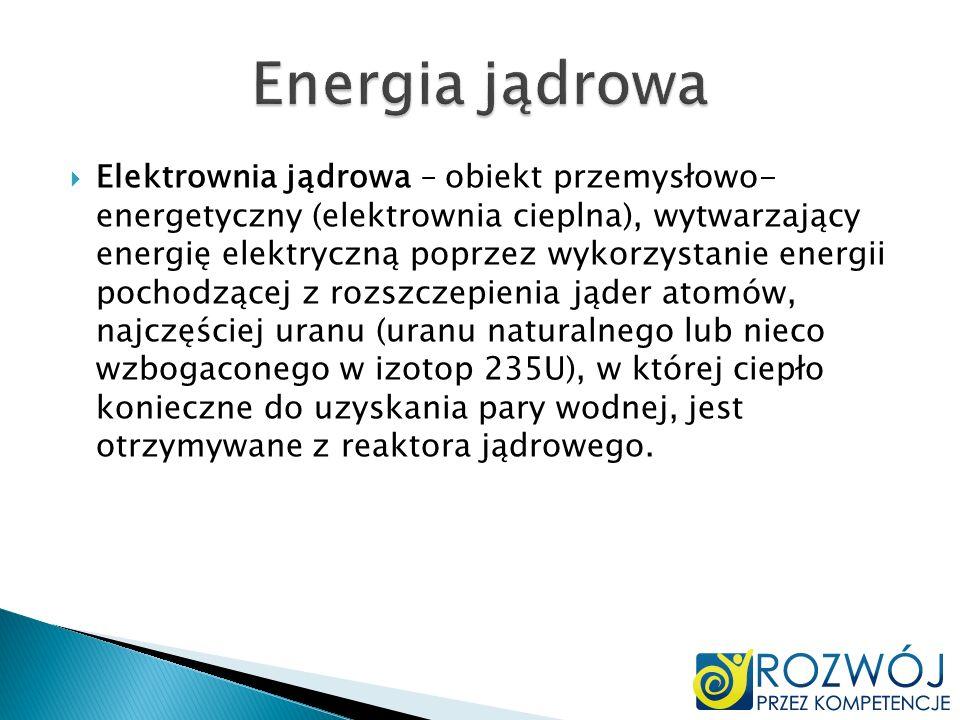 Elektrownia jądrowa – obiekt przemysłowo- energetyczny (elektrownia cieplna), wytwarzający energię elektryczną poprzez wykorzystanie energii pochodząc