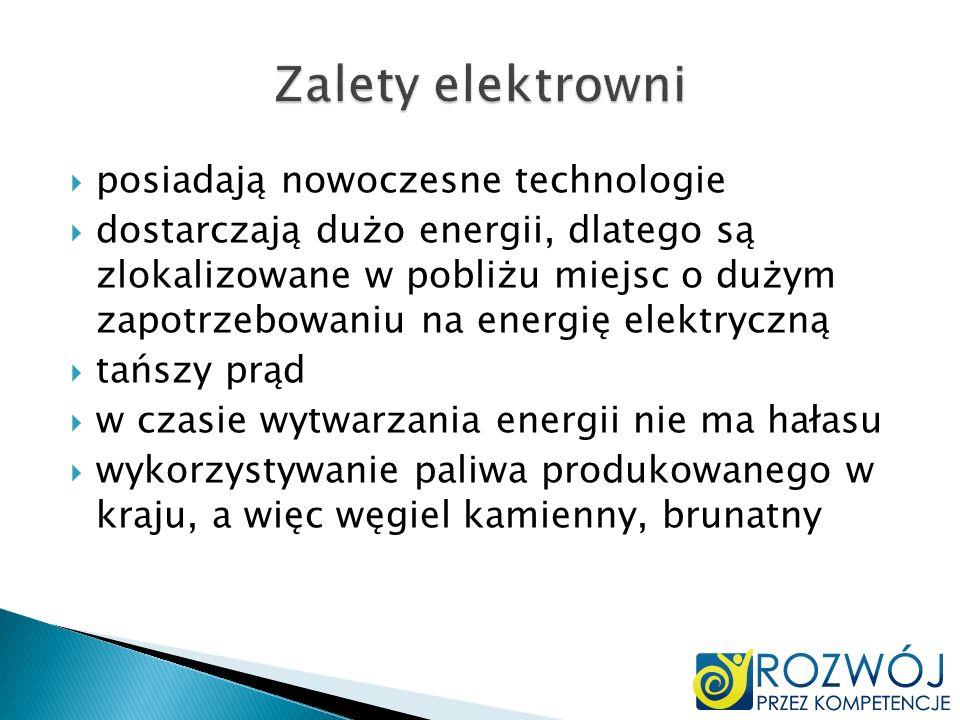 posiadają nowoczesne technologie dostarczają dużo energii, dlatego są zlokalizowane w pobliżu miejsc o dużym zapotrzebowaniu na energię elektryczną ta