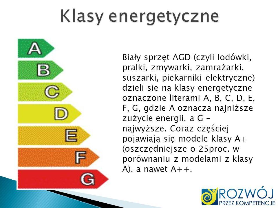 Biały sprzęt AGD (czyli lodówki, pralki, zmywarki, zamrażarki, suszarki, piekarniki elektryczne) dzieli się na klasy energetyczne oznaczone literami A
