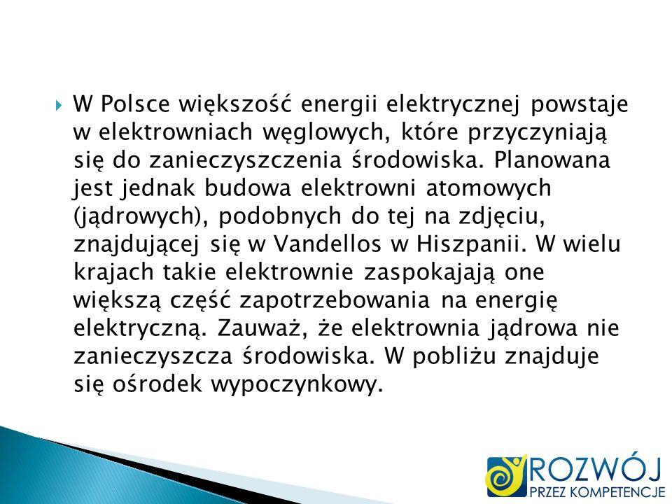 W Polsce większość energii elektrycznej powstaje w elektrowniach węglowych, które przyczyniają się do zanieczyszczenia środowiska. Planowana jest jedn