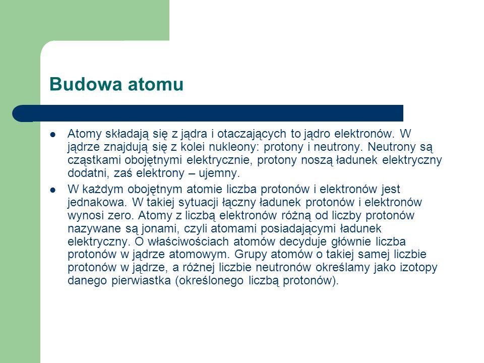 Budowa atomu Atomy składają się z jądra i otaczających to jądro elektronów. W jądrze znajdują się z kolei nukleony: protony i neutrony. Neutrony są cz