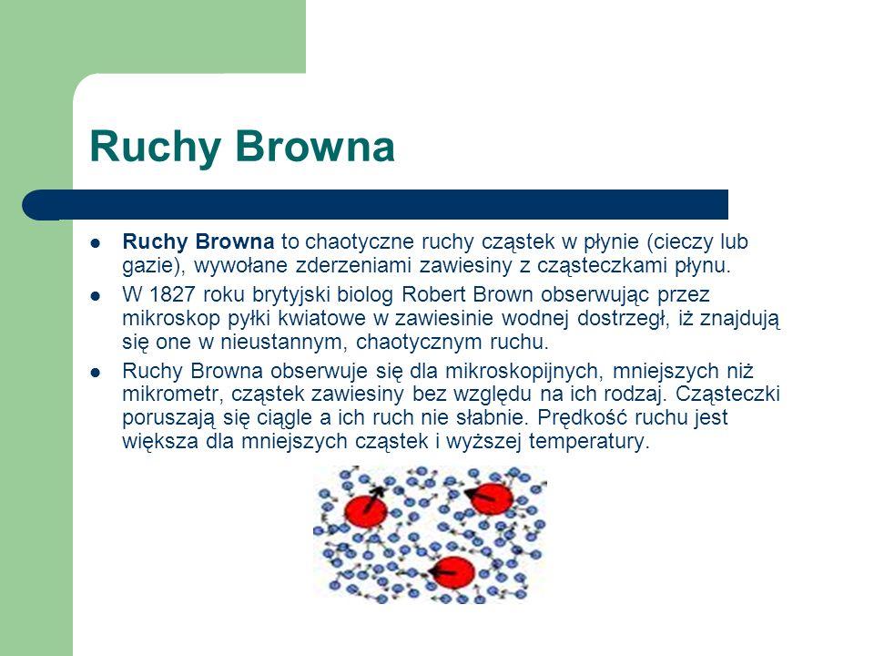 Ruchy Browna Ruchy Browna to chaotyczne ruchy cząstek w płynie (cieczy lub gazie), wywołane zderzeniami zawiesiny z cząsteczkami płynu. W 1827 roku br