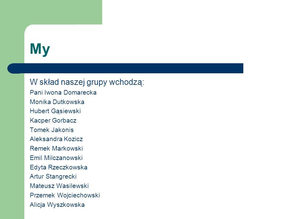 My W skład naszej grupy wchodzą: Pani Iwona Domarecka Monika Dutkowska Hubert Gąsiewski Kacper Gorbacz Tomek Jakonis Aleksandra Kozicz Remek Markowski