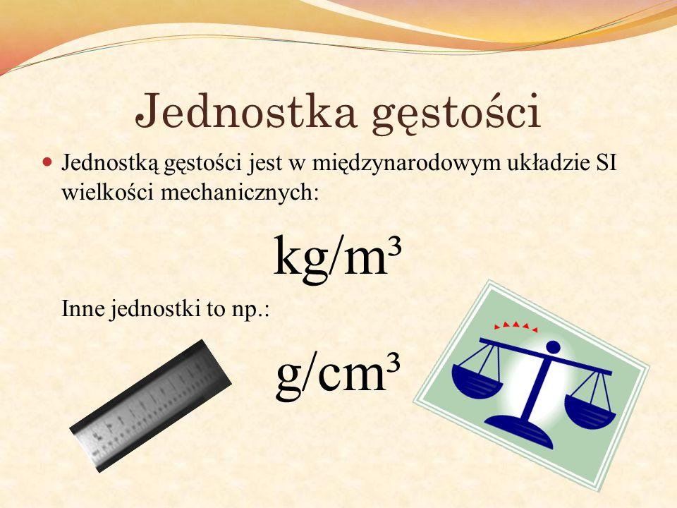 Jednostka gęstości Jednostką gęstości jest w międzynarodowym układzie SI wielkości mechanicznych: kg/m³ Inne jednostki to np.: g/cm³