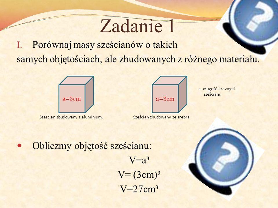 Zadanie 1 I. Porównaj masy sześcianów o takich samych objętościach, ale zbudowanych z różnego materiału. Obliczmy objętość sześcianu: V=a³ V= (3cm)³ V