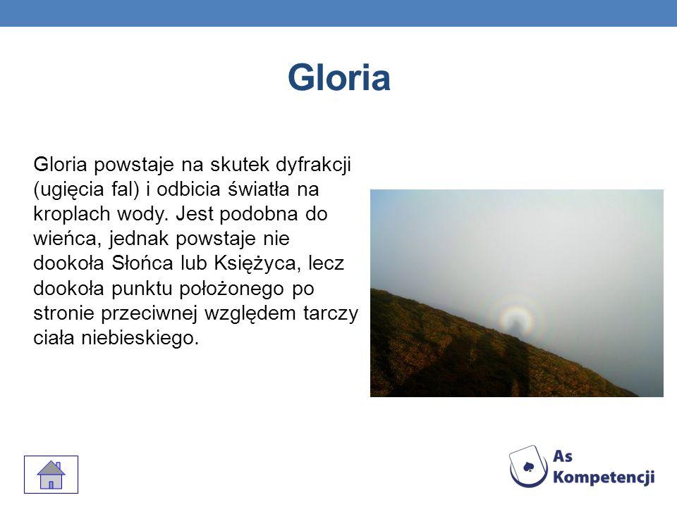 Gloria Zjawisko to występuje w chmurach położonych na wprost przed obserwatorem albo niżej od niego, tj.