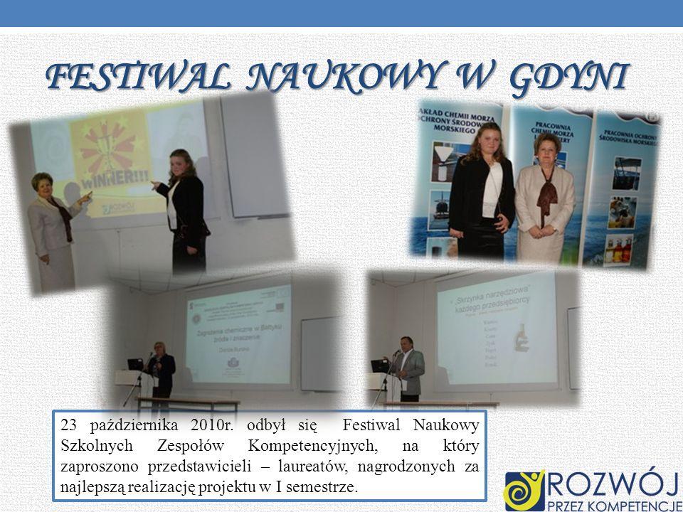 FESTIWAL NAUKOWY W GDYNI 23 października 2010r. odbył się Festiwal Naukowy Szkolnych Zespołów Kompetencyjnych, na który zaproszono przedstawicieli – l