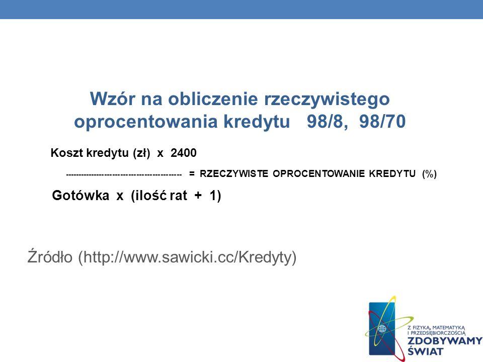Wzór na obliczenie rzeczywistego oprocentowania kredytu 98/8, 98/70 Koszt kredytu (zł) x 2400 -------------------------------------------- = RZECZYWISTE OPROCENTOWANIE KREDYTU (%) Gotówka x (ilość rat + 1) Źródło (http://www.sawicki.cc/Kredyty)