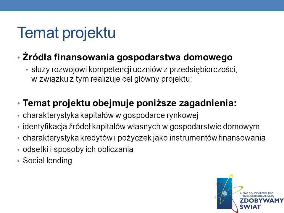 Temat projektu Źródła finansowania gospodarstwa domowego służy rozwojowi kompetencji uczniów z przedsiębiorczości, w związku z tym realizuje cel główny projektu; Temat projektu obejmuje poniższe zagadnienia: charakterystyka kapitałów w gospodarce rynkowej identyfikacja źródeł kapitałów własnych w gospodarstwie domowym charakterystyka kredytów i pożyczek jako instrumentów finansowania odsetki i sposoby ich obliczania Social lending
