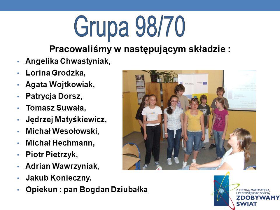 Pracowaliśmy w następującym składzie : Angelika Chwastyniak, Lorina Grodzka, Agata Wojtkowiak, Patrycja Dorsz, Tomasz Suwała, Jędrzej Matyśkiewicz, Mi