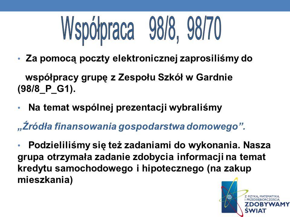 Za pomocą poczty elektronicznej zaprosiliśmy do współpracy grupę z Zespołu Szkół w Gardnie (98/8_P_G1). Na temat wspólnej prezentacji wybraliśmy Źródł