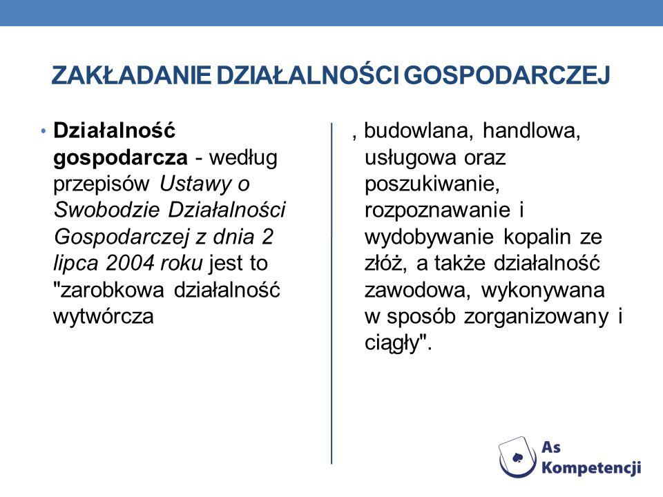 ZAKŁADANIE DZIAŁALNOŚCI GOSPODARCZEJ Działalność gospodarcza - według przepisów Ustawy o Swobodzie Działalności Gospodarczej z dnia 2 lipca 2004 roku