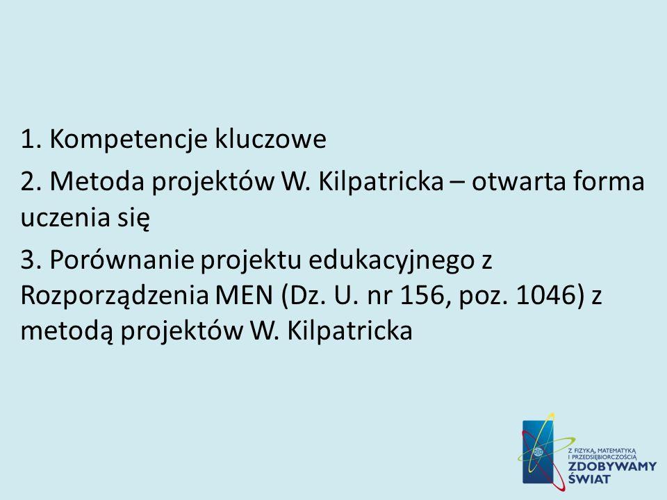 1. Kompetencje kluczowe 2. Metoda projektów W. Kilpatricka – otwarta forma uczenia się 3. Porównanie projektu edukacyjnego z Rozporządzenia MEN (Dz. U