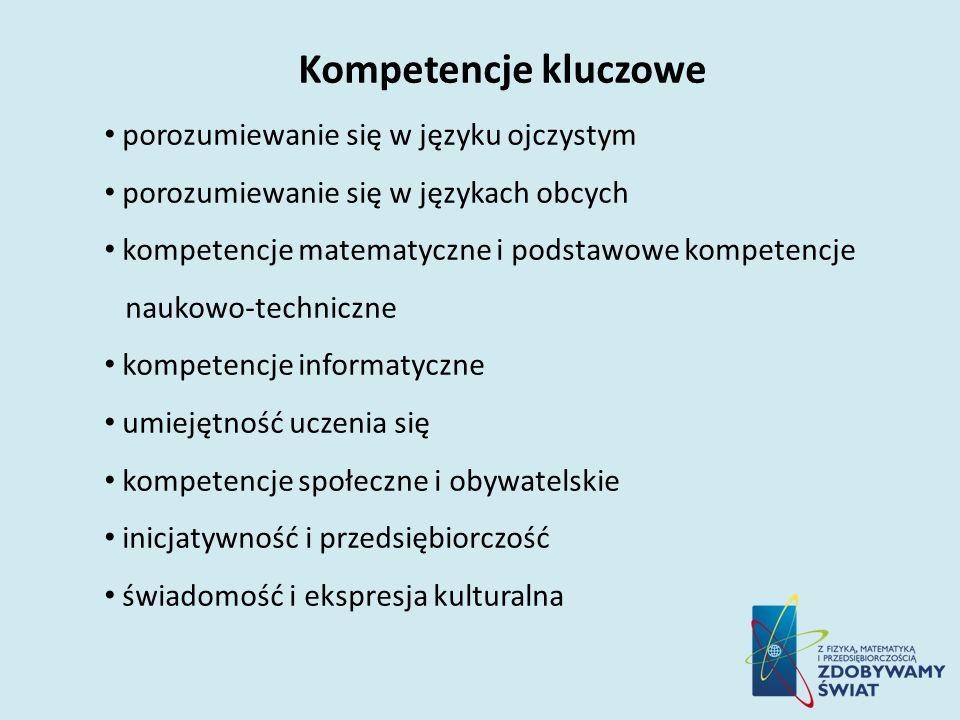 Kompetencje kluczowe porozumiewanie się w języku ojczystym porozumiewanie się w językach obcych kompetencje matematyczne i podstawowe kompetencje nauk