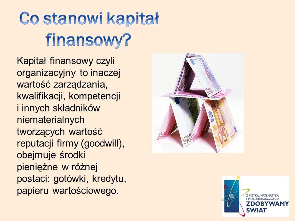 Kapitał finansowy czyli organizacyjny to inaczej wartość zarządzania, kwalifikacji, kompetencji i innych składników niematerialnych tworzących wartość