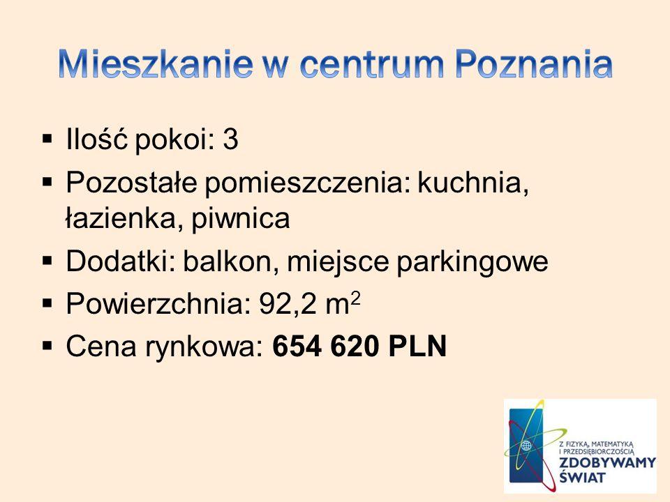 Ilość pokoi: 3 Pozostałe pomieszczenia: kuchnia, łazienka, piwnica Dodatki: balkon, miejsce parkingowe Powierzchnia: 92,2 m 2 Cena rynkowa: 654 620 PLN