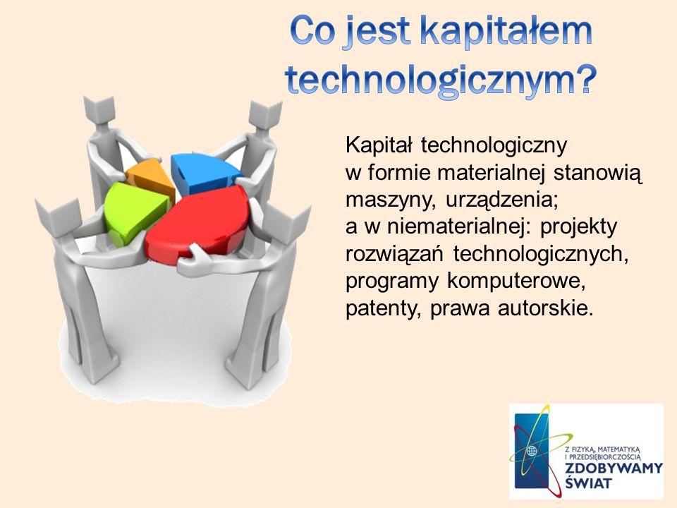 Kapitał technologiczny w formie materialnej stanowią maszyny, urządzenia; a w niematerialnej: projekty rozwiązań technologicznych, programy komputerowe, patenty, prawa autorskie.