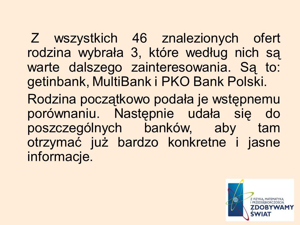 Z wszystkich 46 znalezionych ofert rodzina wybrała 3, które według nich są warte dalszego zainteresowania. Są to: getinbank, MultiBank i PKO Bank Pols