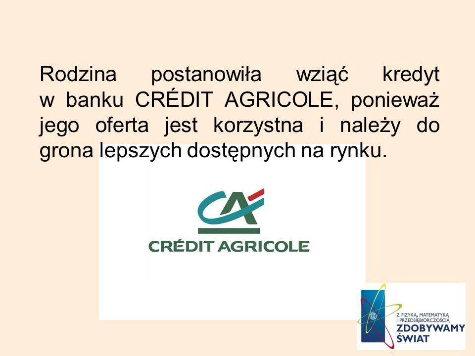 Rodzina postanowiła wziąć kredyt w banku CRÉDIT AGRICOLE, ponieważ jego oferta jest korzystna i należy do grona lepszych dostępnych na rynku.