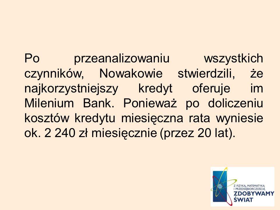 Po przeanalizowaniu wszystkich czynników, Nowakowie stwierdzili, że najkorzystniejszy kredyt oferuje im Milenium Bank. Ponieważ po doliczeniu kosztów