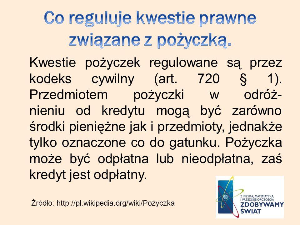 Kwestie pożyczek regulowane są przez kodeks cywilny (art.