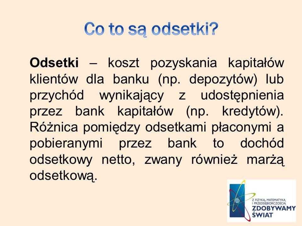 Odsetki – koszt pozyskania kapitałów klientów dla banku (np. depozytów) lub przychód wynikający z udostępnienia przez bank kapitałów (np. kredytów). R