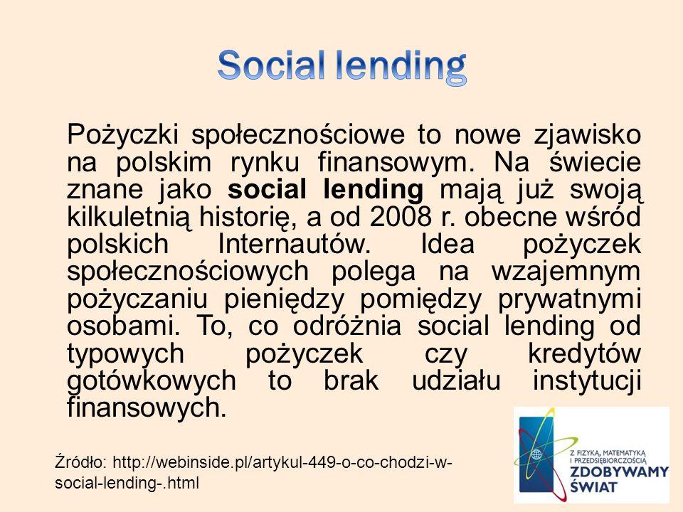 Pożyczki społecznościowe to nowe zjawisko na polskim rynku finansowym. Na świecie znane jako social lending mają już swoją kilkuletnią historię, a od