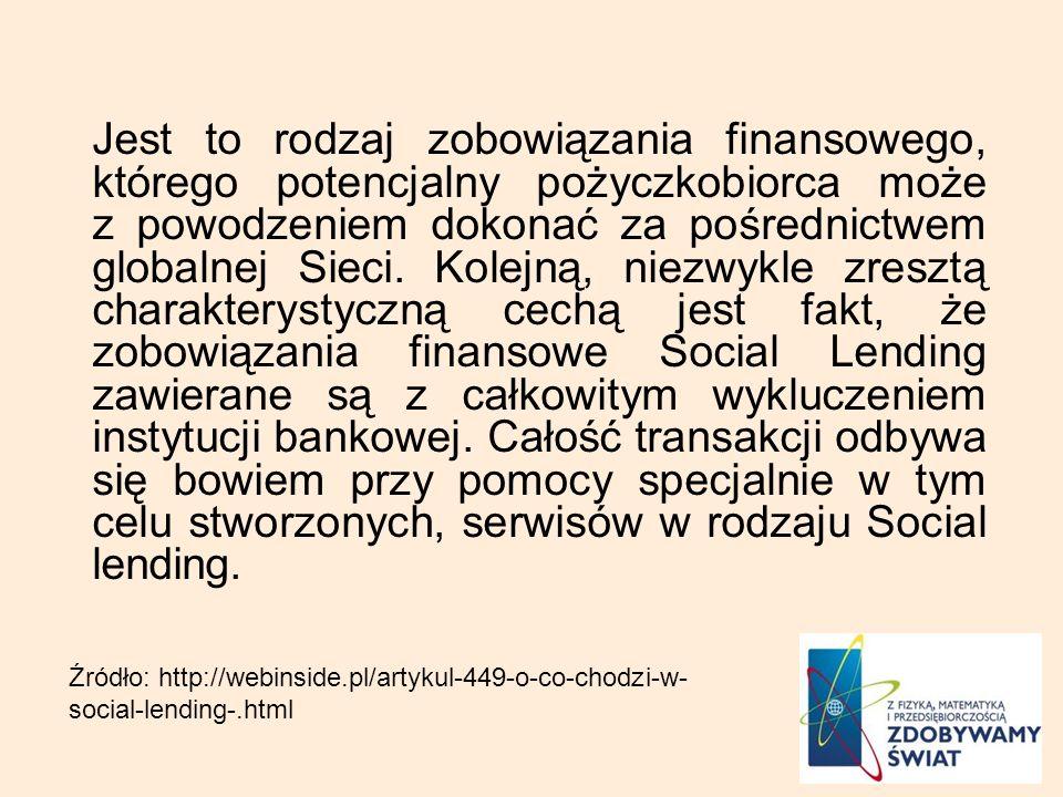 Jest to rodzaj zobowiązania finansowego, którego potencjalny pożyczkobiorca może z powodzeniem dokonać za pośrednictwem globalnej Sieci. Kolejną, niez